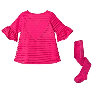 Image of Agatha Ruiz de la Prada Fushcia Tonal Stripe and Heart Dress with Fluted Sleeves with Tights 12 months (3065520181)