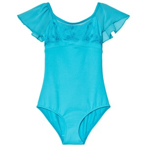 Image of Mirella Blue Embroidered Mesh Flutter Sleeve Leotard 2-4 years (3065527421)