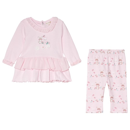 Mintini Baby Pink Top with Frill Bottom and Legging Set Pink