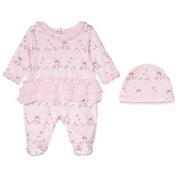 Mintini Baby Pink Footed Baby Body with Frill Bottom and Hat
