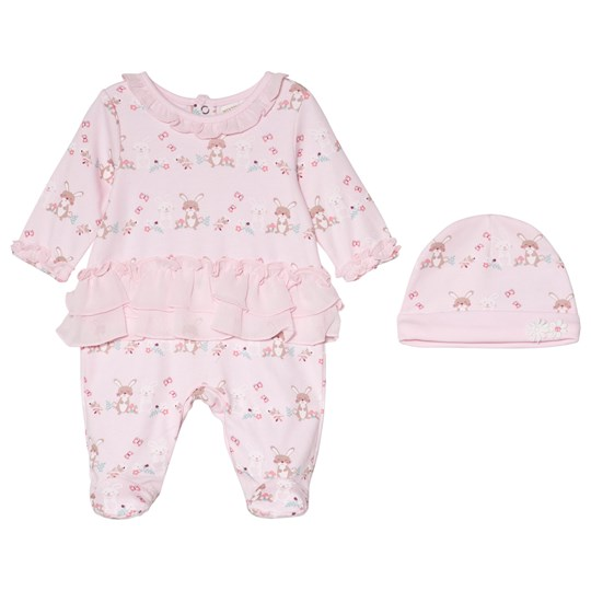 Mintini Baby Pink Footed Baby Body with Frill Bottom and Hat Pink