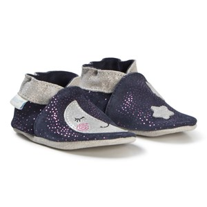 Image of Robeez Soft Soles™ Leather Crib sko Moon Light/Navy Grey 17-18 (0-6 months) (3065520639)
