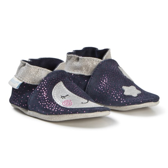 Robeez Soft Soles™ Leather Crib Shoes Moon Light/Navy Grey Navy/grey