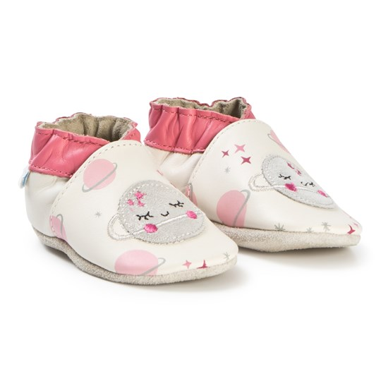 Robeez Soft Soles™ Leather Crib Shoes Glitter Space/Off White Off white