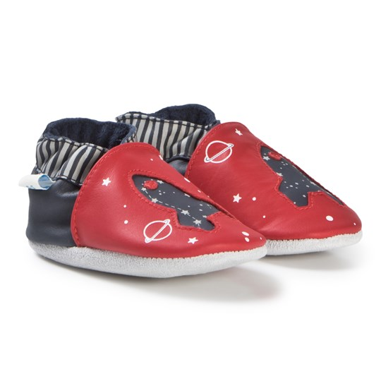 Robeez Soft Soles™ Leather Crib Shoes Planet Travel/Red Rød