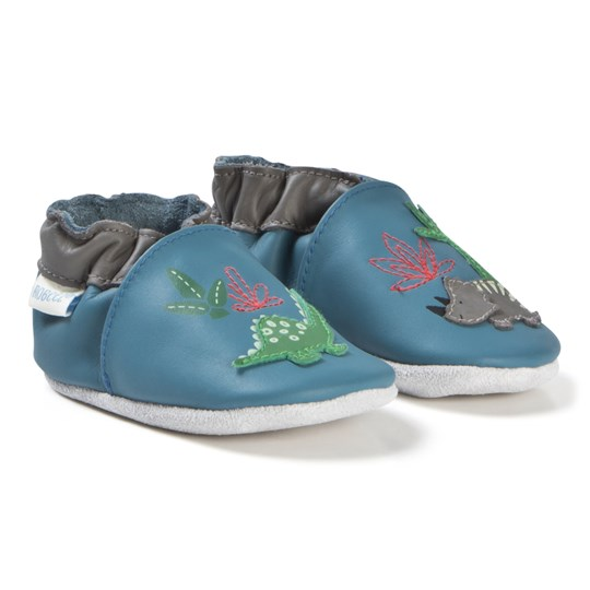 Robeez Soft Soles™ Läder Babyskor Dinorassic/Blue Denim Blue