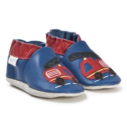 Robeez Soft Soles™ Leather Crib Shoes Firetruck/Dark Blue