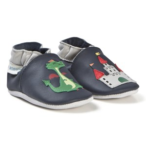 Image of Robeez Soft Soles™ Leather Crib sko Knight Castle/Navy 17-18 (0-6 months) (3065520709)