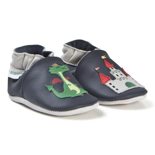 Robeez Soft Soles™ Leather Crib Shoes Knight Castle/Navy Navy
