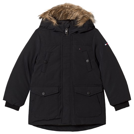 Tommy Hilfiger Black Faux Fur Hooded Arctic Parka 014