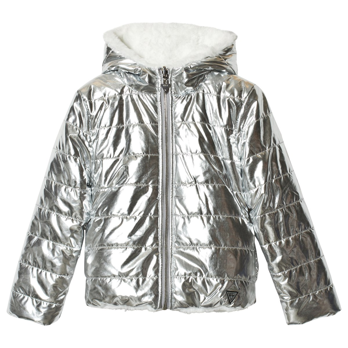 cf522638544b Guess - Reversible Silver Foil Effect and Ivory Faux Fur Padded Coat ...