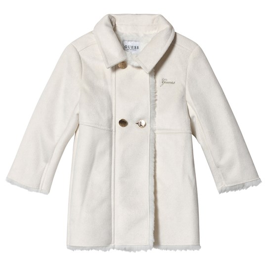 Guess Ivory Faux Sheepskin Coat WCLY