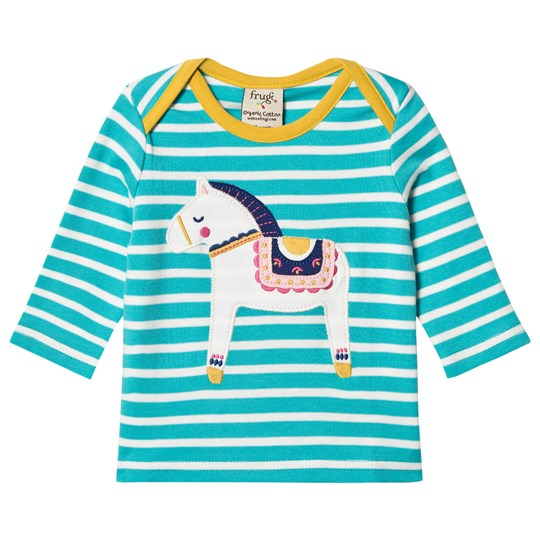Frugi Blue and White Stripe Horse Tee Seaglass Breton/Dala Horse_AW18
