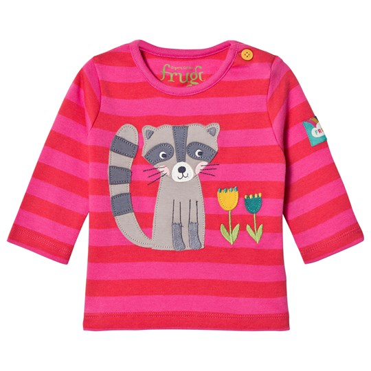 Frugi Red and Pink Racoon Tee Geranium Stripe/Raccoon_AW18