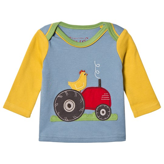 Frugi Blue and Yellow Tractor Tee River Blue/Tractor_AW18
