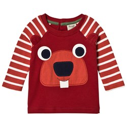 Frugi Maroon and Red Stripe Beaver Tee