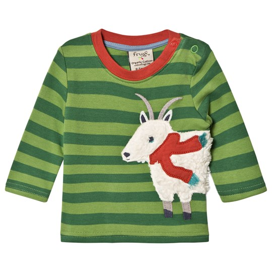 Frugi Green Striped Goat Tee Meadow/Goat_AW18