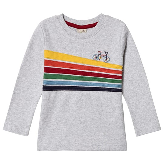 Frugi Grey Rainbow Bike Trail Tee Grey Marl/Bike Trail_AW18