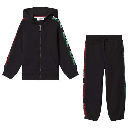 Moschino Kid-Teen Black Italy Logo Side Stripe Tracksuit 60100