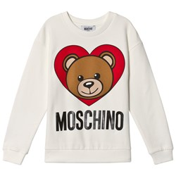 Moschino Kid-Teen White Heart Bear Branded Sweatshirt