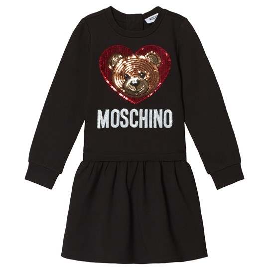 Moschino Kid-Teen Sequin Bear and Branded Milano Klänning Svart 60100