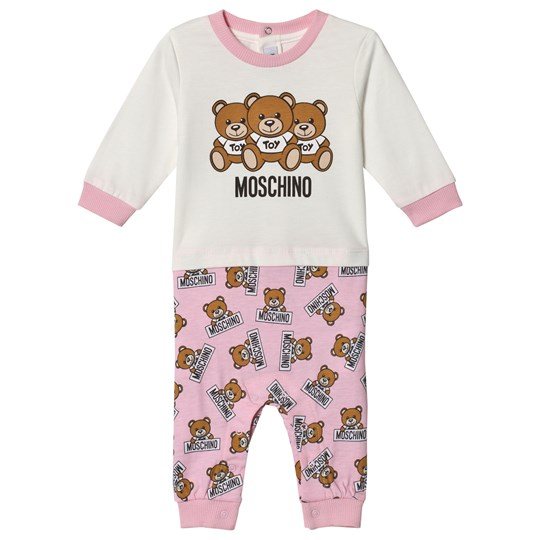 Moschino Kid-Teen Pink 3 Bears Branded Mock Tee Footless One-Piece 83975