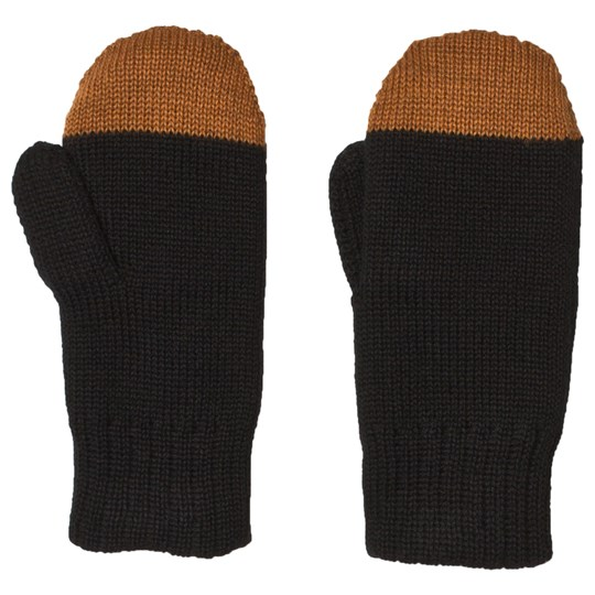 Papu Kivi Wool Mittens Black and Monkey Brown Multicolor