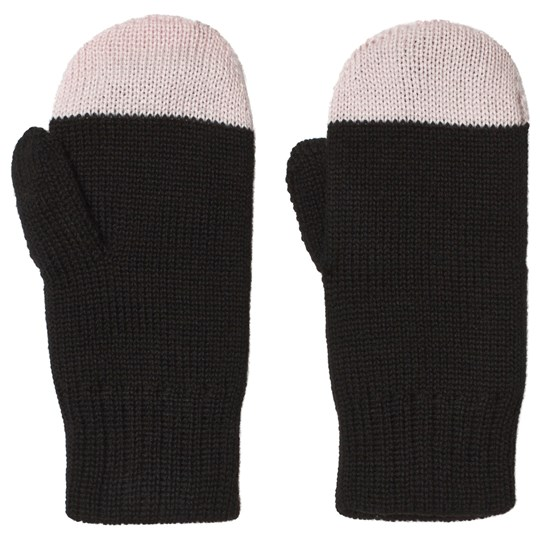 Papu Kivi Wool Mittens Black and Heather Pink Multicolor