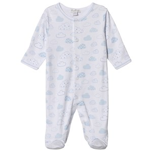 Image of Kissy Kissy Blue Clouds Print Footed Baby Body Newborn (3065537367)