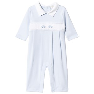 Image of Kissy Kissy Blue Cars Hand Embroidered Detail Smock Footless Babygrow 0-3 months (3065537355)