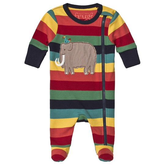 Frugi Elephant Stripe Footed Baby Body Multicolor Rainbow Marl Stripe/Mammoth_AW18