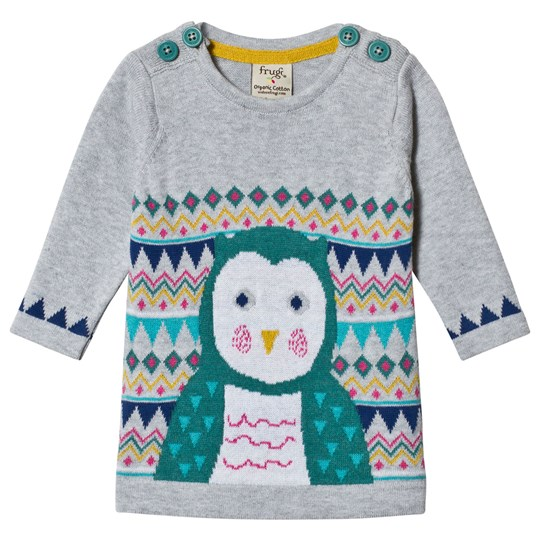 Frugi Penguin Pattern Dress Grey Grey Marl/Barn Owl_AW18
