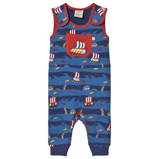 Frugi Stripe Boat Overalls Blue Kraken Up/Viking Boat_AW18