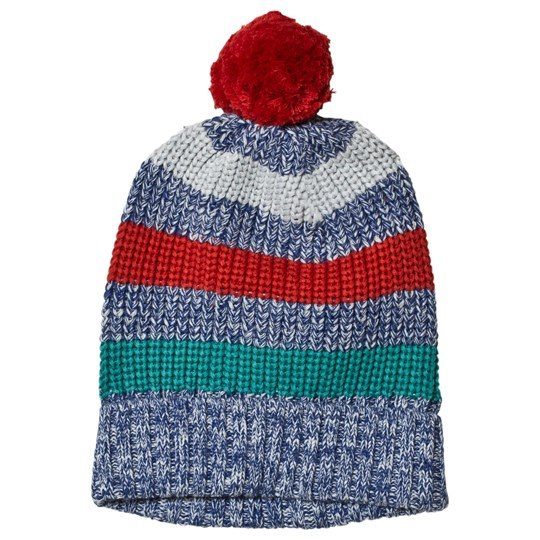 Frugi Blizzard Bobble Hat Navy/Red Campfire Multistripe_AW18
