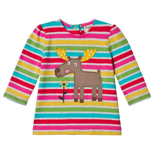 Frugi Multicolor Stripe Moose Tee Rainbow Marl Breton/Moose_AW18