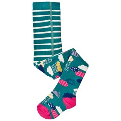 Frugi Stripe and Sky Tights Green/Pink