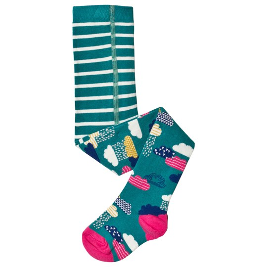Frugi Stripe and Sky Tights Green/Pink Bright Scandi Skies_AW18