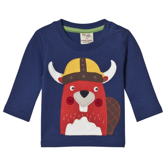 Frugi Blue Viking Beaver Tee True Blue/Beaver_AW18