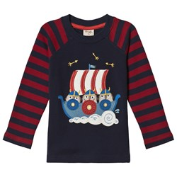 Frugi Navy and Red Viking Boat Tee