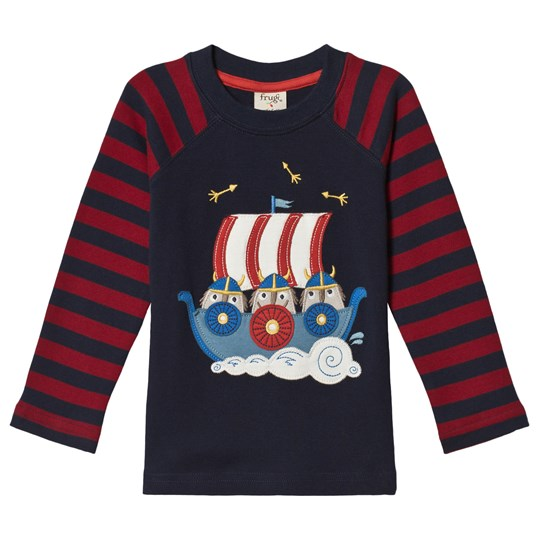 Frugi Navy and Red Viking Boat Tee Navy/Vikings_AW18