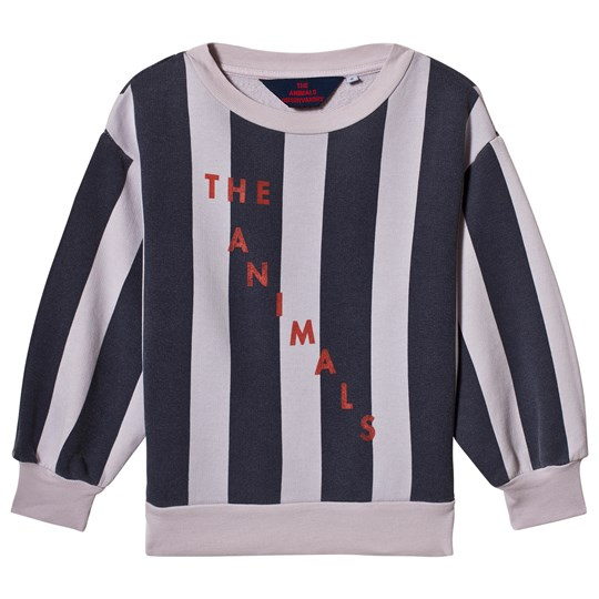 The Animals Observatory Bear Kids Sweatshirt Purple Navy Stripes Purple Navy Stripes