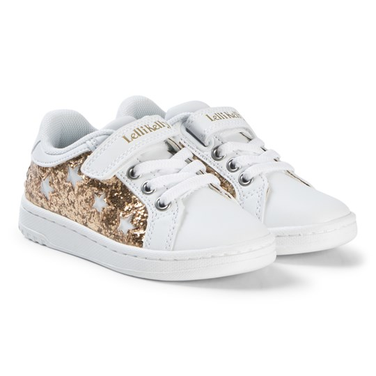 Lelli Kelly White and Gold Glitter Star Velcro Trainers WHITE/PLATINUM