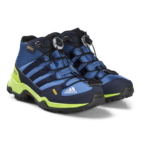 adidas Performance Blue and Green Terrex Mid Gortex Hiking Boots TRACE ROYAL S18/COLLEGIATE NAVY/SOLAR SLIME
