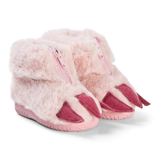 Victoria Furry Slipper Boots with Claws Pink Pink