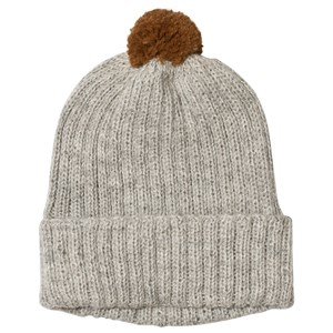 Image of Huttelihut Baby Knitted Hat Ribbed Light Grey / Oak Pompom 1-2 år (3065558159)