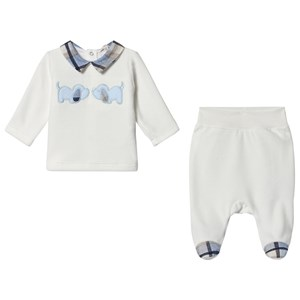 2b4e6f4d3cf Image of Mintini Baby White Dog Top and Trousers with Blue Check Collar and  Foot Detail