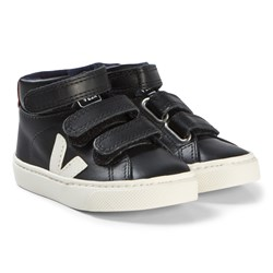 Veja Esplar Mid Small Velcro Leather Shoes Black Pierre Rouille