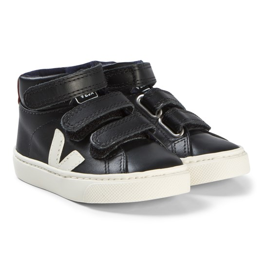 Veja Esplar Mid Small Velcro Leather Shoes Black Pierre Rouille Black Pierre Rouille