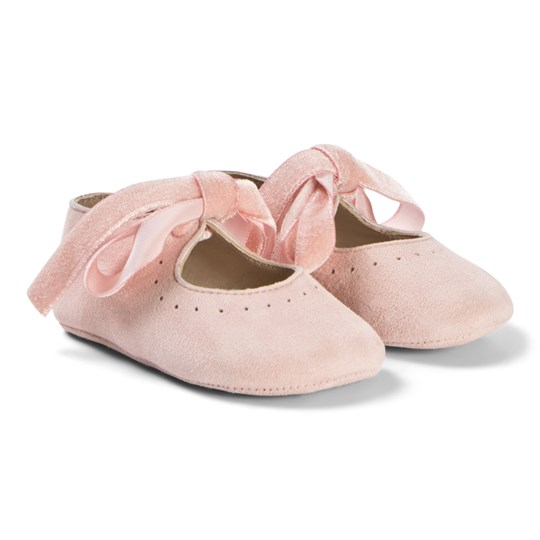 Bonpoint Pink Suede Crib Shoes 022
