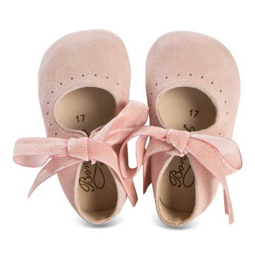 Bonpoint - Pink Suede Crib Shoes